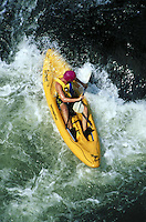 overhead view of man maneuvering kayak through white water rapids on Shenandoah River. man. Harper's Ferry Virginia USA Shenandoah river.