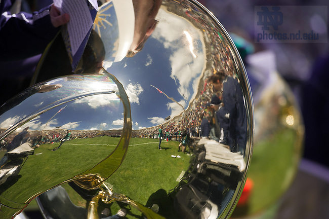 Apr 20, 2013; Notre Dame Stadium reflected in a tuba during the 2013 Blue-Gold game. ..Photo by Matt Cashore/University of Notre Dame