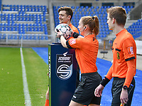 Referees Jana Van Laere, Gianni Seeldraeyers and Jonas Van Dyck pictured during a female soccer game between  Racing Genk Ladies and SV Zulte-Waregem on the 18 th and last matchday before the play offs of the 2020 - 2021 season of Belgian Scooore Womens Super League , saturday 27 th of March 2021  in Genk , Belgium . PHOTO SPORTPIX.BE | SPP | JILL DELSAUX