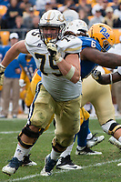 Georgia Tech offensive lineman Parker Braun. The Pitt Panthers defeated the Georgia Tech Yellow Jackets 37-34 at Heinz Field in Pittsburgh, Pennsylvania on October 08, 2016.