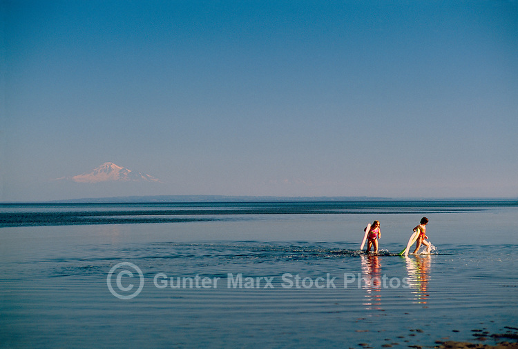 Children walking in Water of Pacific Ocean, Boundary Bay Regional Park, Delta, BC, British Columbia, Canada - Mount Baker, Washington, USA on Horizon