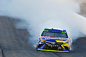 Monster Energy NASCAR Cup Series<br /> ISM Connect 300<br /> New Hampshire Motor Speedway<br /> Loudon, NH USA<br /> Sunday 24 September 2017<br /> Kyle Busch, Joe Gibbs Racing, M&M's Caramel Toyota Camry celebrates his win<br /> World Copyright: Nigel Kinrade<br /> LAT Images