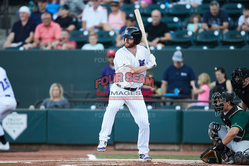 Alex Destino (23) of the Winston-Salem Dash at bat against the Greensboro Grasshoppers at Truist Stadium on June 17, 2021 in Winston-Salem, North Carolina. (Brian Westerholt/Four Seam Images)