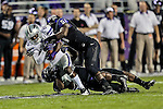 TCU Horned Frogs linebacker Kenny Cain (51) tackles Kansas State Wildcats wide receiver Tramaine Thompson (86) during the game between the Kansas State Wildcats and the TCU Horned Frogs  at the Amon G. Carter Stadium in Fort Worth, Texas. Kansas State defeats TCU 23 to 10...