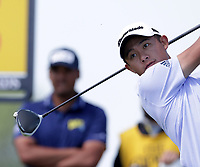 16th July 2021; Royal St Georges Golf Club, Sandwich, Kent, England; The Open Championship Tour Golf, Day Two; Collin Morikawa (USA) hits his driver on the 15th tee