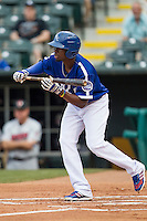 Oklahoma City Dodgers second baseman Darnell Sweeney (9) squares to bunt during the Pacific Coast League baseball game against the Nashville Sounds on June 12, 2015 at Chickasaw Bricktown Ballpark in Oklahoma City, Oklahoma. The Dodgers defeated the Sounds 11-7. (Andrew Woolley/Four Seam Images)