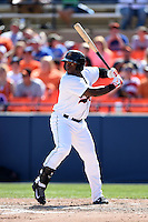 Frederick Keys outfielder Michael Burgess (35) during a game against the Carolina Mudcats on April 26, 2014 at Harry Grove Stadium in Frederick, Maryland.  Carolina defeated Frederick 4-2.  (Mike Janes/Four Seam Images)