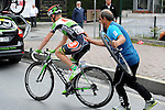 Puncture for Kevin Seeldraeyers (BEL) Torku Sekerspor during Stage 8 of the 2015 Presidential Tour of Turkey running 124km from Istanbul to Istanbul. 3rd May 2015.<br /> Photo: Tour of Turkey/Mario Stiehl/www.newsfile.ie