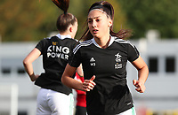 Amber Tysiak (3) of OHL warming up before a female soccer game between Oud Heverlee Leuven and RSC Anderlecht on the fifth matchday of the 2021 - 2022 season of Belgian Womens Super League , sunday 3 October 2021  in Leuven , Belgium . PHOTO SPORTPIX.BE   SEVIL OKTEM