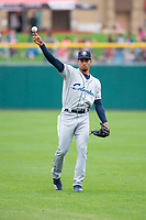 Columbus Clippers outfielder Oscar Mercado (2) before an International League game against the Indianapolis Indians on April 30, 2019 at Victory Field in Indianapolis, Indiana. Columbus defeated Indianapolis 7-6. (Zachary Lucy/Four Seam Images)