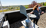 WATERBURY, CT 050621JS32—Franca Hahn, a clinical laboratory scientist at Waterbury Hospital, explains how the hospital collects pollen samples from the unit on their roof on Thursday. <br /> Jim Shannon Republican American