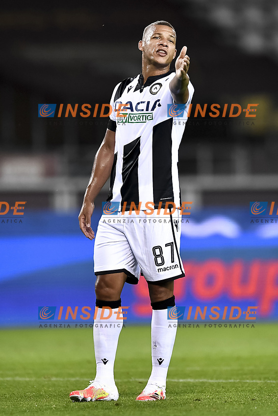 Sebastien De Maio of Udinese Calcio reacts during the Serie A football match between Torino FC and Udinese at Olimpico stadium in Torino ( Italy ), June 23th, 2020. Play resumes behind closed doors following the outbreak of the coronavirus disease. <br /> Photo Image Sport / Insidefoto