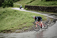 Mads Pedersen (DEN/Trek - Segafredo) descending the Col du Pré (HC/1748m) towards the Barrage de Roselend in, yet again, grim conditions.<br /> <br /> Stage 9 from Cluses to Tignes (145km)<br /> 108th Tour de France 2021 (2.UWT)<br /> <br /> ©kramon