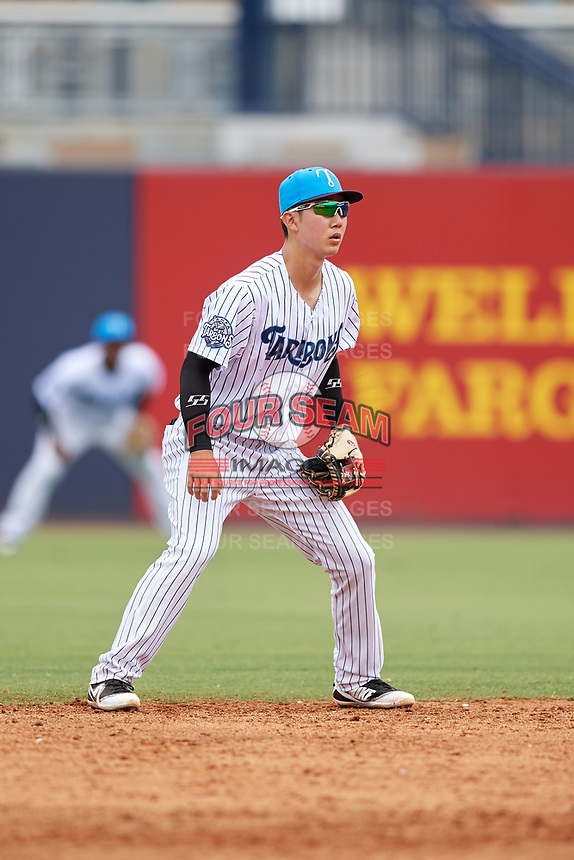 Tampa Tarpons second baseman Hoy Jun Park (1) during a game against the Lakeland Flying Tigers on April 8, 2018 at George M. Steinbrenner Field in Tampa, Florida.  Lakeland defeated Tampa 3-1.  (Mike Janes/Four Seam Images)