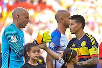 Santa Clara, CA - Friday June 03, 2016: United States goalkeeper Brad Guzan (1) and Colombia midfielder James Rodríguez (10) during a Copa America Centenario Group A match between United States (USA) and Colombia (COL) at Levi's Stadium.