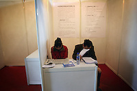 CHINA. Beijing. In mid-February, over 40,000 people crammed the China International Exhibition Centre, all hoping to land a job in a market that is shrinking rapidly in terms of opportunities. Mass unemployment across China as a result of the recent economic crisis in Asia is causing worry for university graduates and migrant workers alike who are finding it increasingly difficult to find any form of work.  2009.