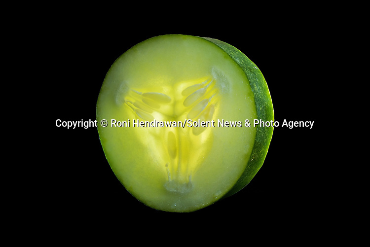 Pictured:  REVEAL:  Cucumber<br /> <br /> CAPTURED USING JUST A DESK LAMP AND A CAMERA DURING LOCKDOWN.......Amazing up close photos show fruit and vegetables as you've never seen them before.  Photographer Roni Hendrawan used a special lens to capture the vibrant images of aubergines, sweetcorn, onions, limes, cucumbers, tomatoes and peppers.<br /> <br /> The 29 year old spent three months assembling the produce in lockdown from what he would ordinarily eat before doing the shoot in his kitchen with a macro lens.  SEE OUR COPY FOR DETAILS.<br /> <br /> Please byline: Roni Hendrawan/Solent News<br /> <br /> © Roni Hendrawan/Solent News & Photo Agency<br /> UK +44 (0) 2380 458800