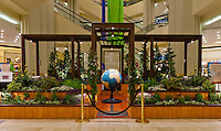 """A head-on view of Orange Coast College's Ornamental Horticulture Club's first-place winning garden installation at the 2012 South Coast Plaza Spring Garden Show in Costa Mesa, CA.  The theme for the show was """"healing gardens"""", and the OCC team installed a """"garden for the visually impaired.""""  The garden's centerpiece is a 1957 restored globe for the blind, with the world geography in exaggerated height to be sensed by the touch of blind people; the locations of plants in the garden was indicated in braille on the globe.  This picture was taken Thursday April 27, 2012 at ~9pm, less than 48 hours after my in-progress pictures."""