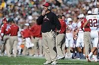 South Bend, IN - OCTOBER 4:  Head coach Jim Harbaugh of the Stanford Cardinal during Stanford's 28-21 loss against the Notre Dame Fighting Irish on October 4, 2008 at Notre Dame Stadium in South Bend, Indiana.