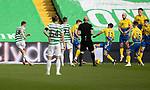 Celtic v St Johnstone…12.05.21  SPFL Celtic Park<br />David Turnbull's free kick goues under the wall to give Celtic a 1-0 lead<br />Picture by Graeme Hart.<br />Copyright Perthshire Picture Agency<br />Tel: 01738 623350  Mobile: 07990 594431