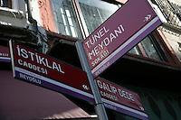 Street signs in Beyoglu, Istanbul, Turkey