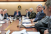 President Donald J. Trump meets with Vice President Mike Pence and White House senior advisors about Iranian missile attacks on United States military facilities in Iraq Tuesday, Jan. 7, 2020, in the Situation Room of the White House <br /> <br /> People:  President Donald Trump
