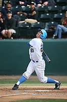 Kyle Cuellar (29) of the UCLA Bruins bats against the California Bears at Jackie Robinson Stadium on March 25, 2017 in Los Angeles, California. UCLA defeated California, 9-4. (Larry Goren/Four Seam Images)