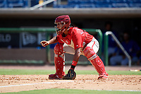 Philadelphia Phillies catcher Freddy Francisco (6) waits to receive a throw during a Florida Instructional League game against the Toronto Blue Jays on September 24, 2018 at Spectrum Field in Clearwater, Florida.  (Mike Janes/Four Seam Images)