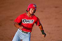 Jahmai Jones (15) of the Orem Owlz  hustles towards third base against the Ogden Raptors in Pioneer League action at Lindquist Field on July 29, 2016 in Ogden, Utah. Orem defeated Ogden 8-5. (Stephen Smith/Four Seam Images)