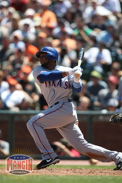 SAN FRANCISCO - JUNE 21:  Elvis Andrus #1 of the Texas Rangers bats against the San Francisco Giants during the game at AT&T Park on June 21, 2009 in San Francisco, California. Photo by Brad Mangin