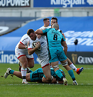 25 October 2020; Alan O'Connor of Ulster in action against Lloyd Fairbrother (3) and Ollie Griffiths (8) of the Dragons during the Guinness PRO14 match between Ulster and Dragons at Kingspan Stadium in Belfast. Photo by John Dickson/Dicksondigital
