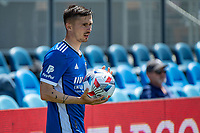 SAN JOSE, CA - APRIL 24: Paul Marie #3 of the San Jose Earthquakes prepares for a throw in during a game between FC Dallas and San Jose Earthquakes at PayPal Park on April 24, 2021 in San Jose, California.