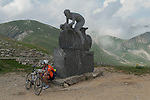 """Colle Fauniera Cottian Alps Italy. The sculpture shows """"Marco Pantani"""" an Italian road racing cyclist 2016 2010s"""