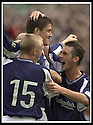 28/9/02       Copyright Pic : James Stewart                     .File Name : stewart-falkirk v st j'stone 20.KEVIN JAMES (CENTRE) IS CONGRATULATED BY ANDY RODGERS AND MARK KERR AFTER SCORING THE LATE WINNER.....James Stewart Photo Agency, 19 Carronlea Drive, Falkirk. FK2 8DN      Vat Reg No. 607 6932 25.Office : +44 (0)1324 570906     .Mobile : + 44 (0)7721 416997.Fax     :  +44 (0)1324 570906.E-mail : jim@jspa.co.uk.If you require further information then contact Jim Stewart on any of the numbers above.........