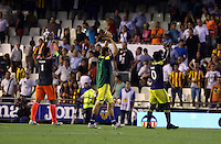 Valencia, Spain. Thursday 19 September 2013<br /> Pictured L-R: Swansea players Michel Vorm, Angel Rangel and Wilfried Bony celebrating their win after the final whistle.<br /> Re: UEFA Europa League game against Valencia C.F v Swansea City FC, at the Estadio Mestalla, Spain,