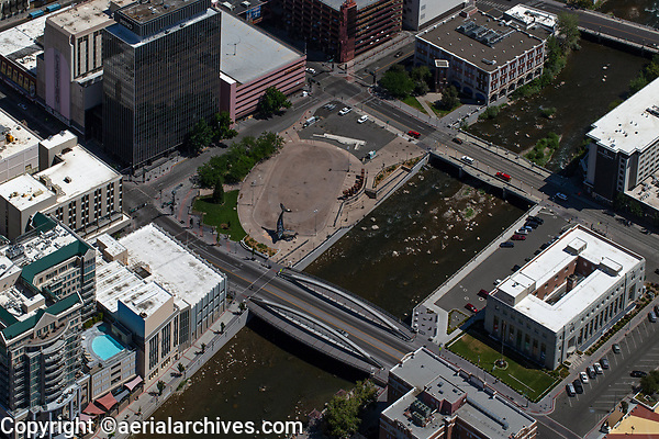 aerial photograph of the Riverwalk District, Reno, Washoe County, Nevada, City Plaza and the Space Whale scultpure in the center