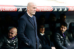 Real Madrid's coach Zinedine Zidane during La Liga match between Real Madrid and Malaga CF at Santiago Bernabeu Stadium in Madrid, Spain. January 21, 2017. (ALTERPHOTOS/BorjaB.Hojas)