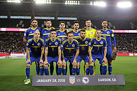 Carson, CA - Sunday January 28, 2018: Bosnia and Herzegovina (BIH) Starting Eleven prior to an international friendly between the men's national teams of the United States (USA) and Bosnia and Herzegovina (BIH) at the StubHub Center.