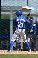 Toronto Blue Jays Tim Locastro (21) during a minor league spring training game against the Pittsburgh Pirates on March 21, 2015 at Pirate City in Bradenton, Florida.  (Mike Janes/Four Seam Images)