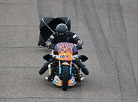 Feb 21, 2020; Chandler, Arizona, USA; NHRA top fuel nitro Harley Davidson motorcycle rider Jay Turner during qualifying for the Arizona Nationals at Wild Horse Pass Motorsports Park. Mandatory Credit: Mark J. Rebilas-USA TODAY Sports