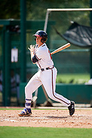 GCL Braves catcher Logan Brown (28) follows through on a swing during the first game of a doubleheader against the GCL Yankees West on July 30, 2018 at Champion Stadium in Kissimmee, Florida.  GCL Yankees West defeated GCL Braves 7-5.  (Mike Janes/Four Seam Images)