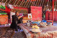 Asia Mongolia, Altai mountain,Saikhsai, the hunter Saelikhan  in ger