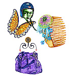 Illustrative image of woman with purse, hair clip and butterfly representing Virgo sign