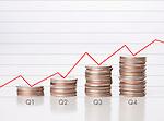 USA, Illinois, Metamora, Graph of US coins showing quarterly profit