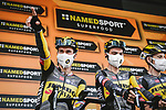 Primoz Roglic (SLO) and Sepp Kuss (USA) Jumbo-Visma at sign on before Stage 3 of the 2021 Tour de France, running 182.9km from Lorient to Pontivy, France. 28th June 2021.  <br /> Picture: A.S.O./Pauline Ballet | Cyclefile<br /> <br /> All photos usage must carry mandatory copyright credit (© Cyclefile | A.S.O./Pauline Ballet)
