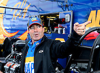 Feb 7, 2014; Pomona, CA, USA; NHRA funny car driver Ron Capps during qualifying for the Winternationals at Auto Club Raceway at Pomona. Mandatory Credit: Mark J. Rebilas-