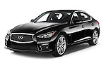 2015 Infiniti Q50 Sport 4 Door Sedan angular front stock photos of front three quarter view