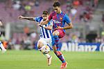 FC Barcelona's Eric Garcia (r) and Real Sociedad's Cristian Portu during La Liga match. August 15, 2021. (ALTERPHOTOS/Acero)
