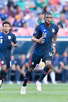 DENVER, CO - JUNE 3: Jordan Siebatcheu #16 of the United States during a game between Honduras and USMNT at EMPOWER FIELD AT MILE HIGH on June 3, 2021 in Denver, Colorado.