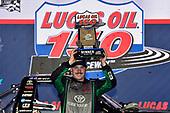 #16: Brett Moffitt, Hattori Racing Enterprises, Toyota Tundra KOBE celebrates his win in Victory Lane